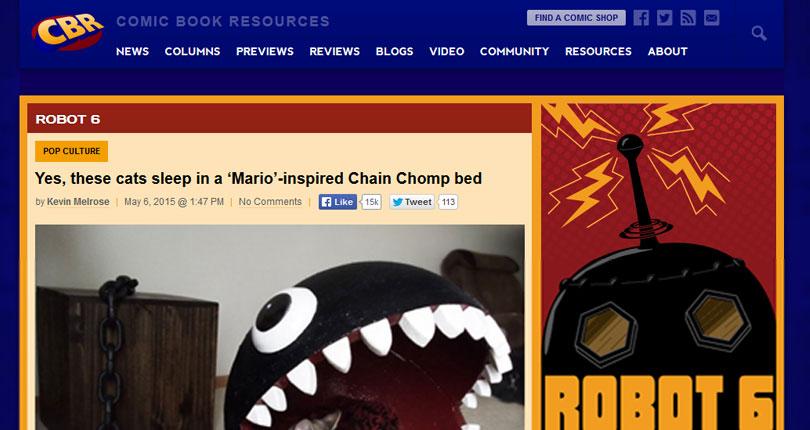 Mario inspired chain chomp cat bed