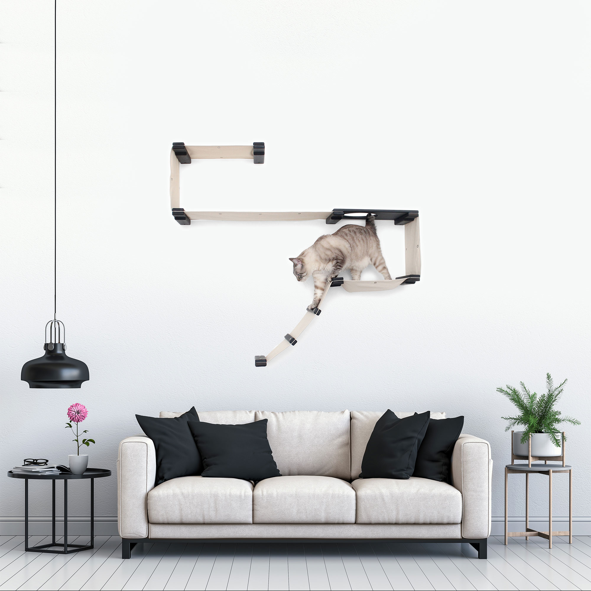 This photo displays our cat on a Play complex mounted in a living room setting. This image shows the Play complex in Onyx, a black stain, and has Natural fabric, a light tan color.