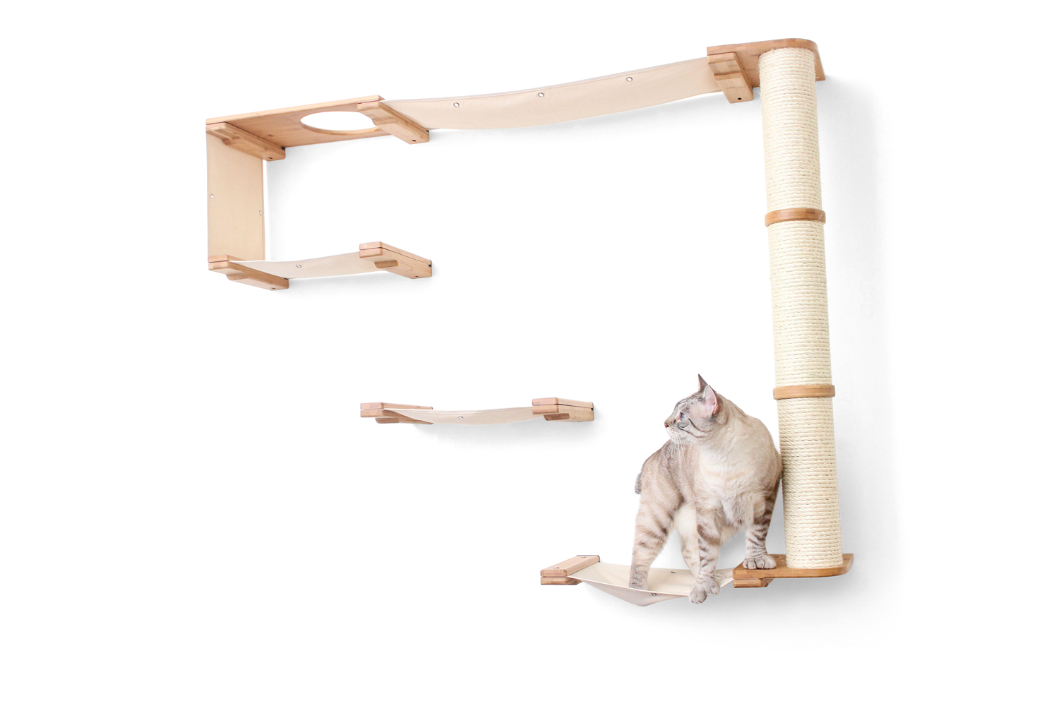 wall mounted Climb cat furniture with tan cat
