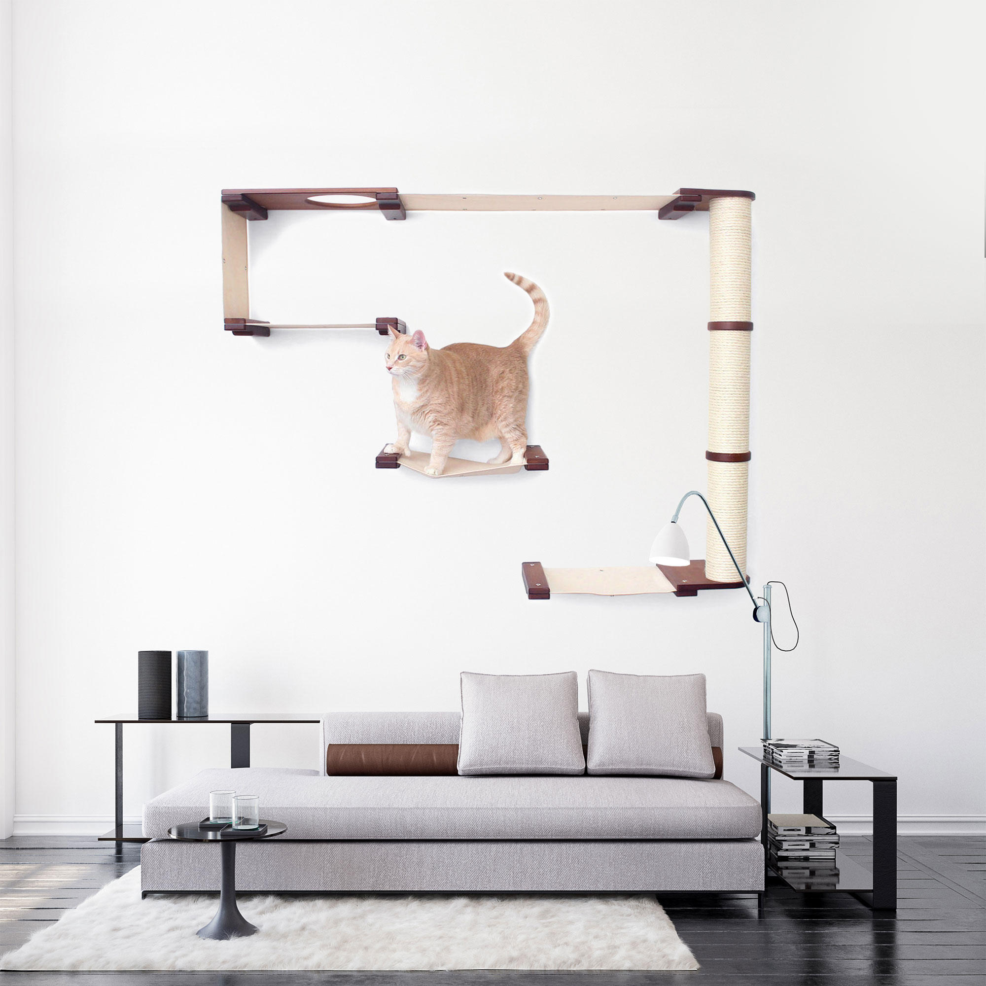This photo displays our cat on the Climb complex mounted in a living room setting. This image shows the complex in English Chestnut, a dark brown stain, with Natural fabric, a light tan color.