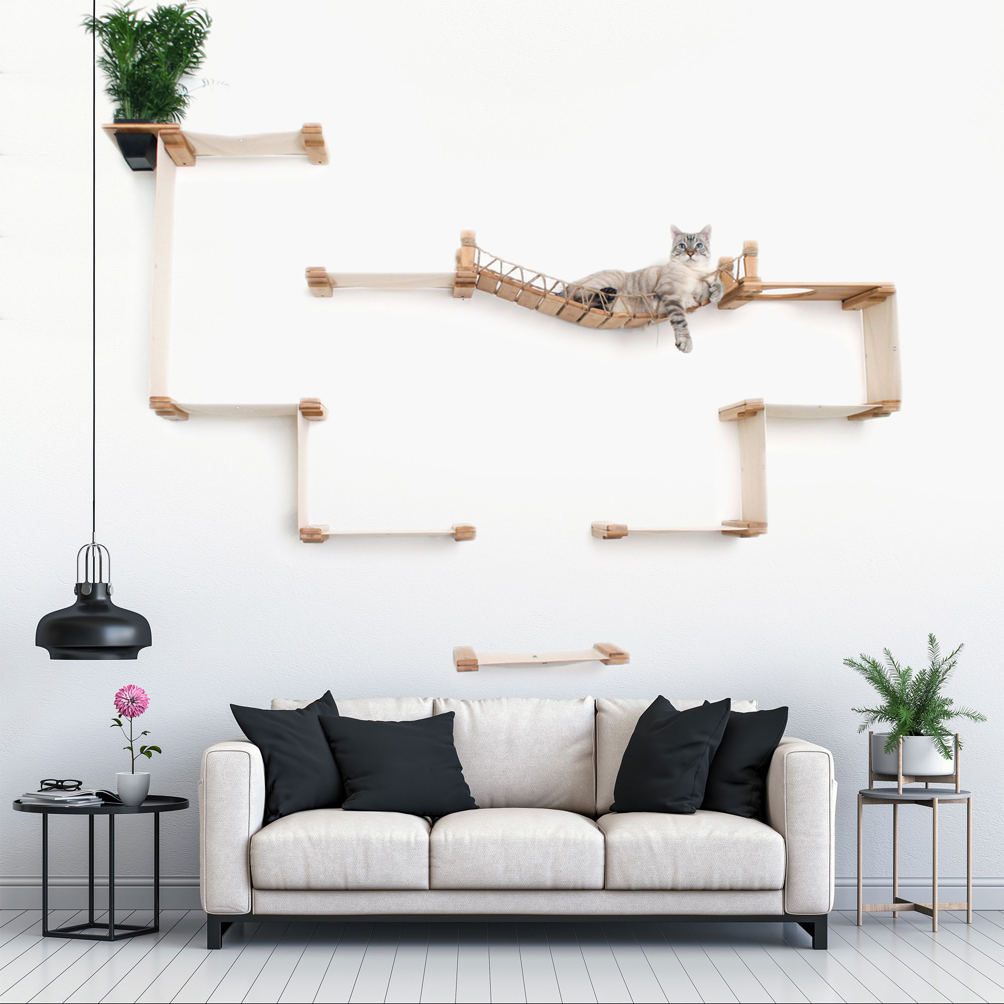 This photo displays our cat lounging on the Temple complex in a living room setting. This image shows the Temple in Natural, a light brown stain, and has Natural fabric, a light tan color.