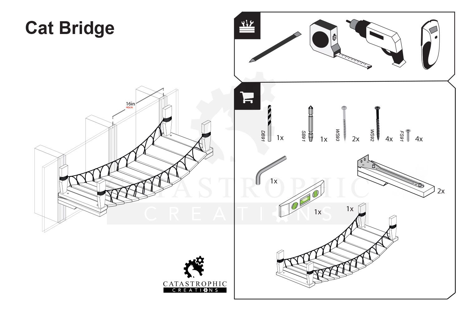 blueprint and items necessary for assembly of cat bridge