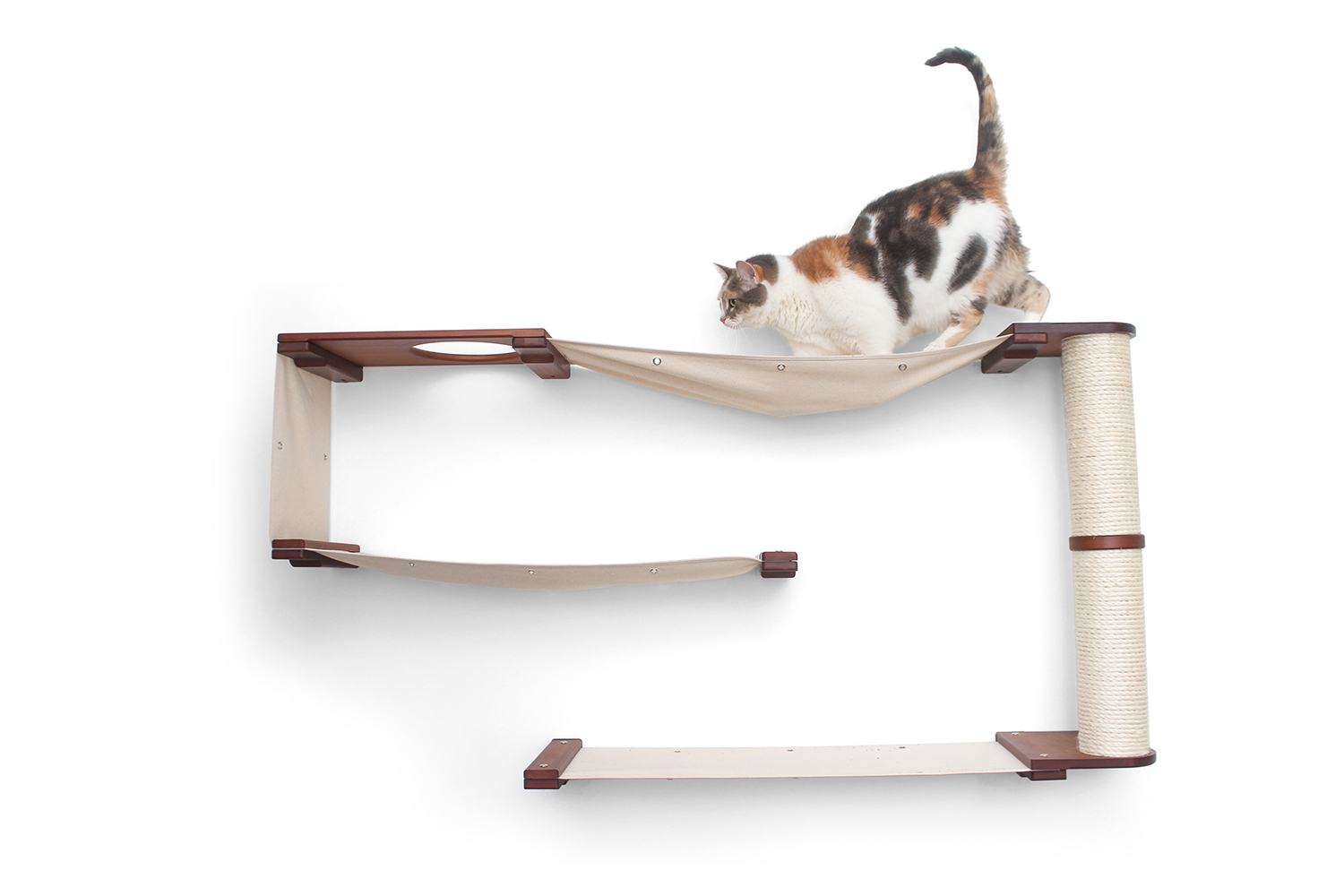 This photo displays a cat on the Deluxe Cat Maze. This Deluxe Cat Maze is in English Chestnut, a dark brown stain, with Natural fabric, a light tan color.