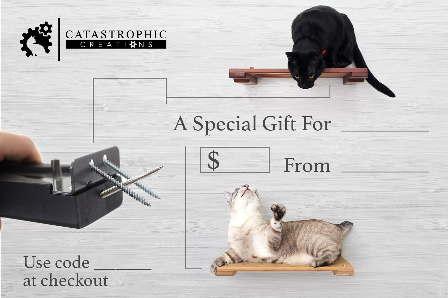 This image includes one cat relaxing on a Cat Shelf, another leaning over an Escape Hatch, a close up of our mounting plank, and the Catastrophic Creation logo.