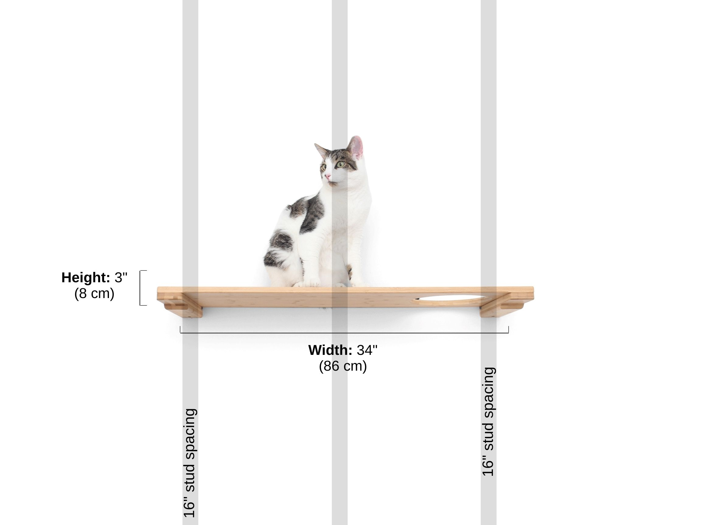 Stud spacing and dimensions of 34 inch shelf