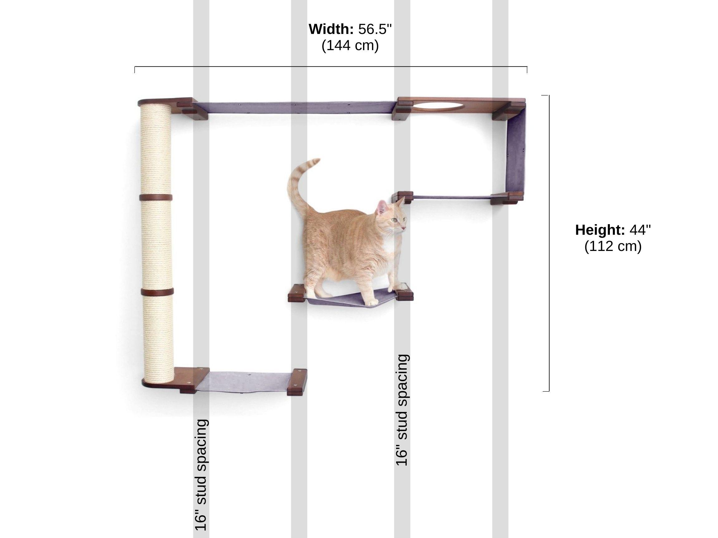 Stud spacing and dimensions of cat climb complex