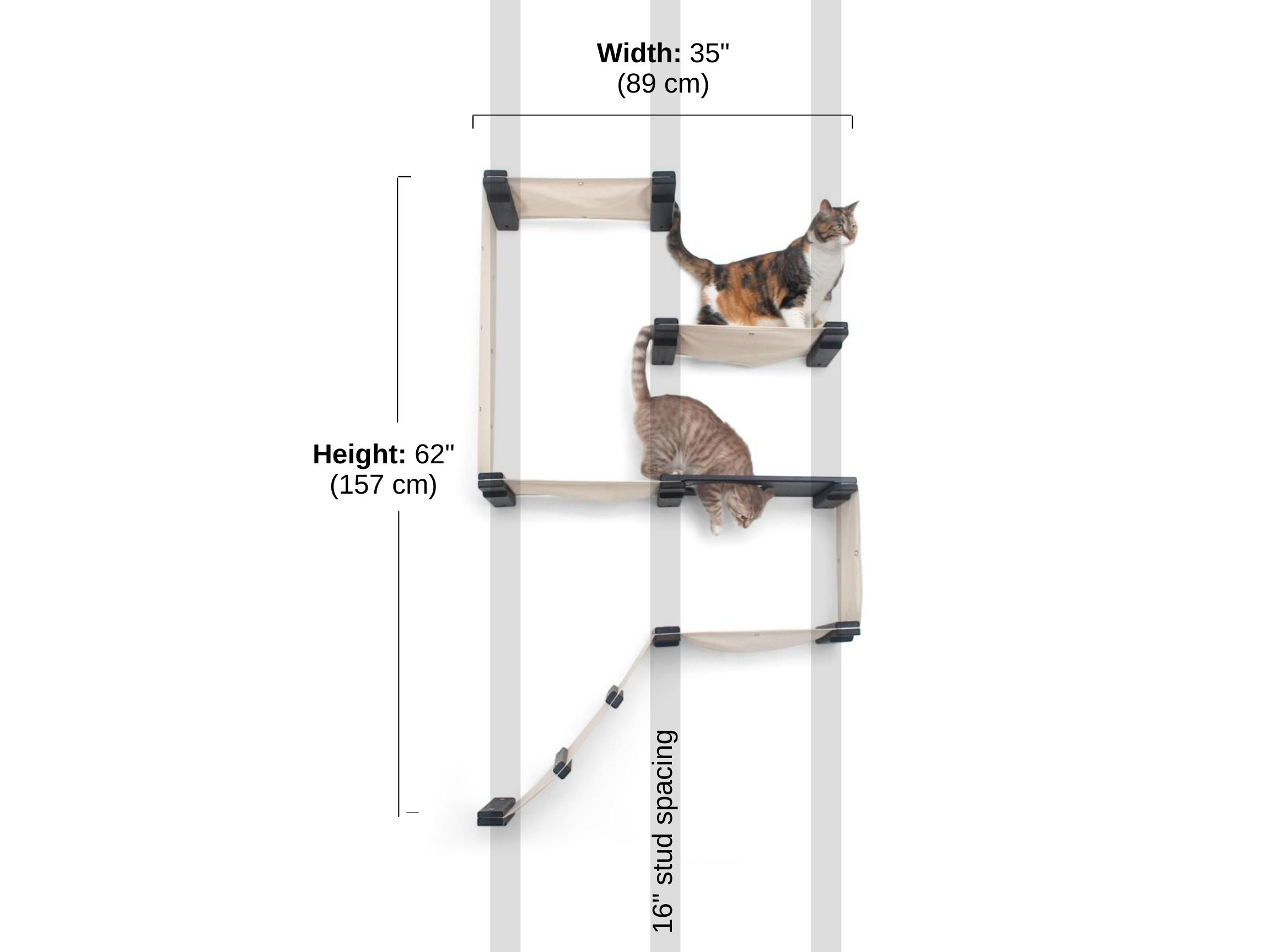 Stud spacing and dimensions of the cat fort