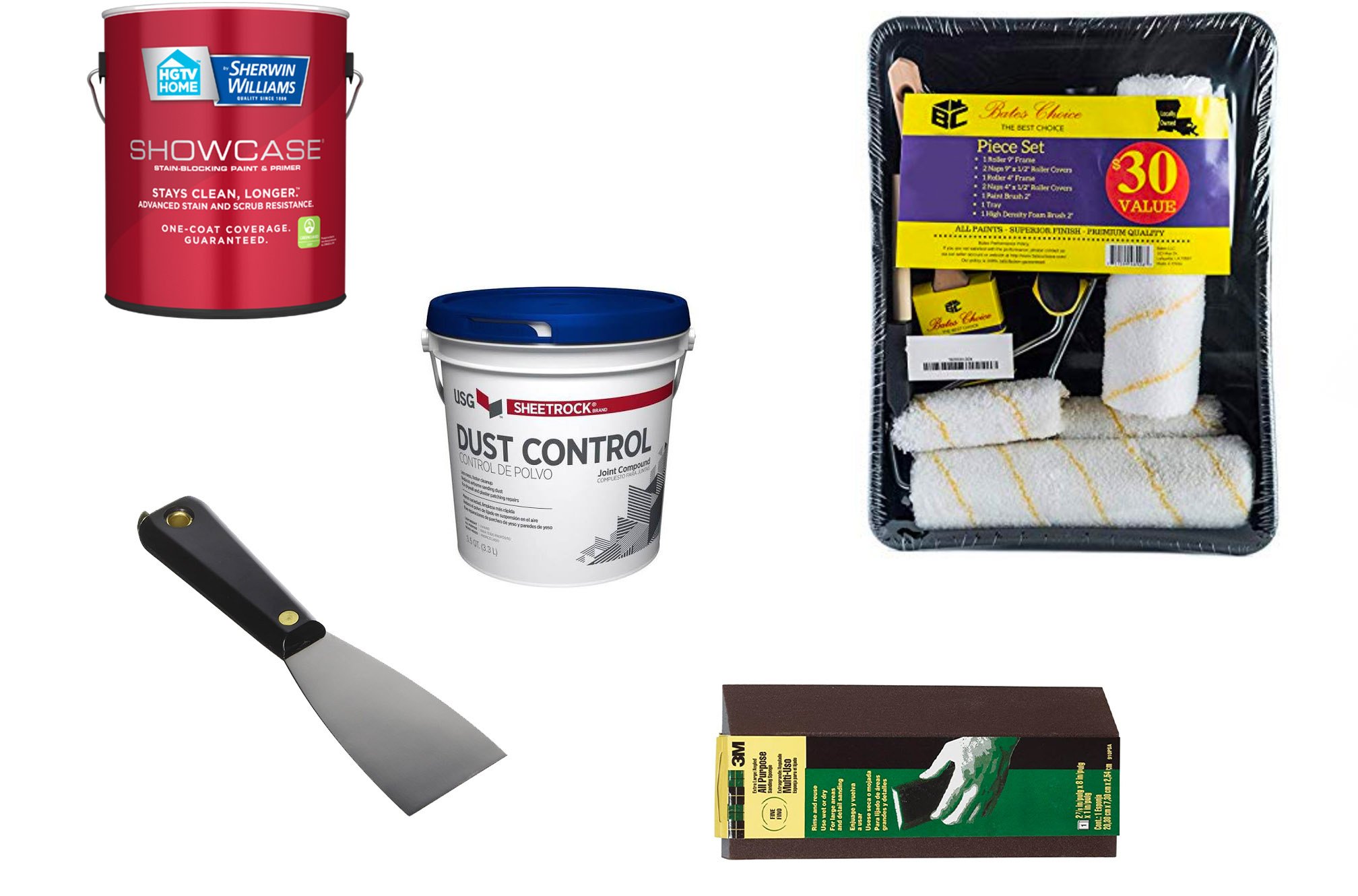 This photo displays materials and tools we use in order to repair our walls after having the furniture on them.