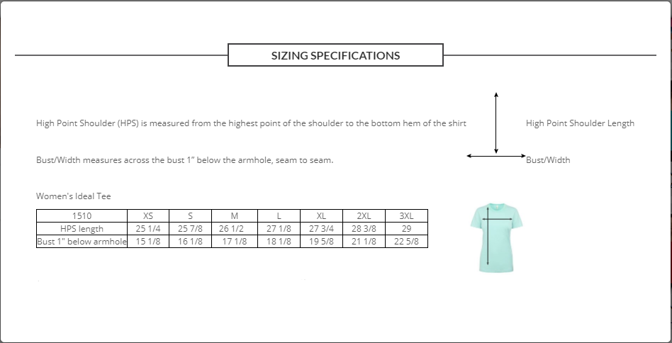This image displays our sizing guide for women regarding our T-Shirts.
