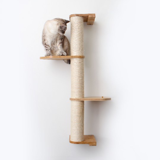 This photo displays our cat sitting on a three tier Deluxe Sisal Climbing Pole. The Sisal Pole and Leaf Connectors are in Natural, a light brown stain.
