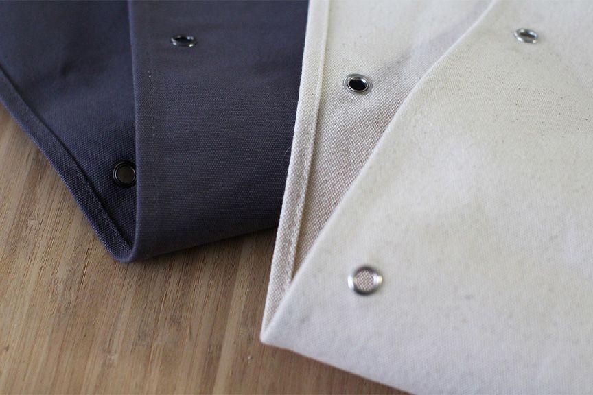 natural and charcoal fabrics