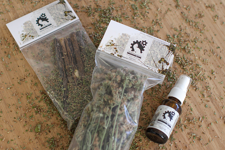 cat nip bundle with silver vine sticks, cat nip buds, and catnip spray