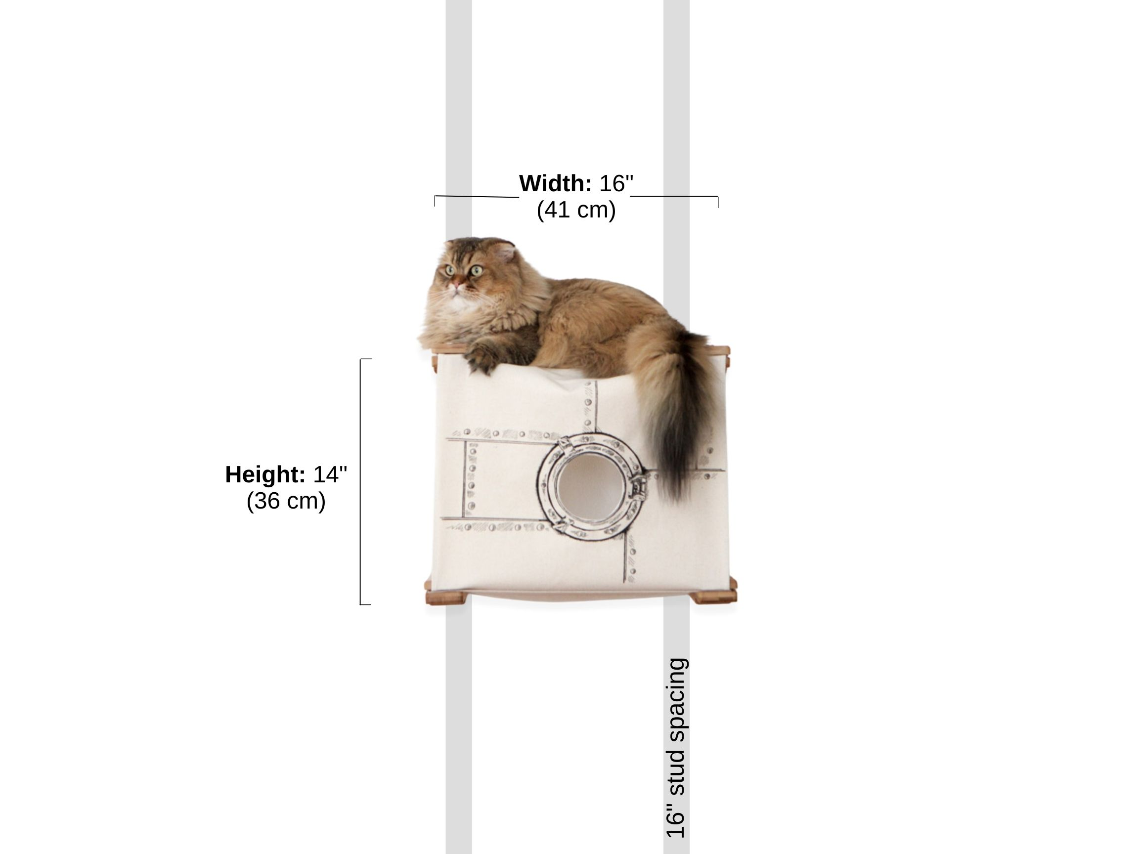 Stud spacing and Dimensions of standard cat cubbie