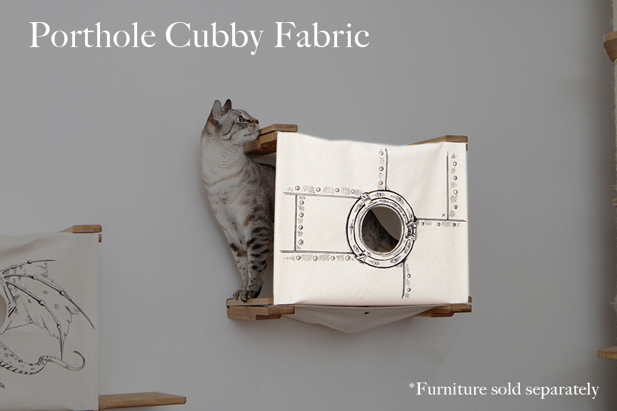 Cat cubby with a classic porthole design, a tabby cat is stepping out of the cat cubby looking for trouble.