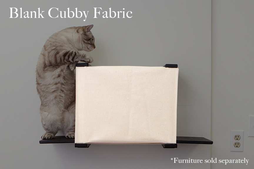 Tan cat jumps on top of cat cubby from ledge. Canvas is blank.