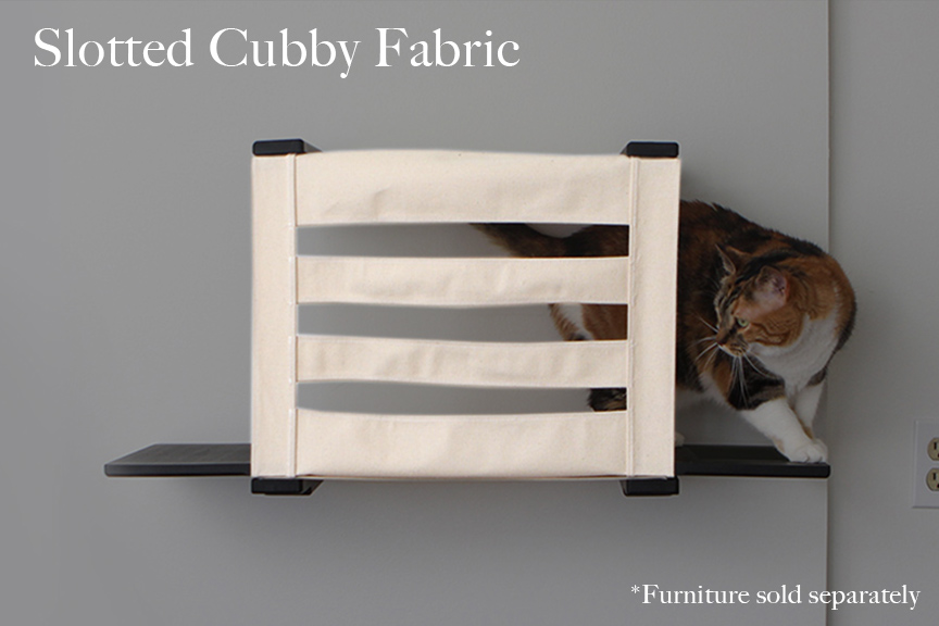 Cat cubby with ledges, with slotted canvas. a cubby tabby cat is stepping from out of the cubby