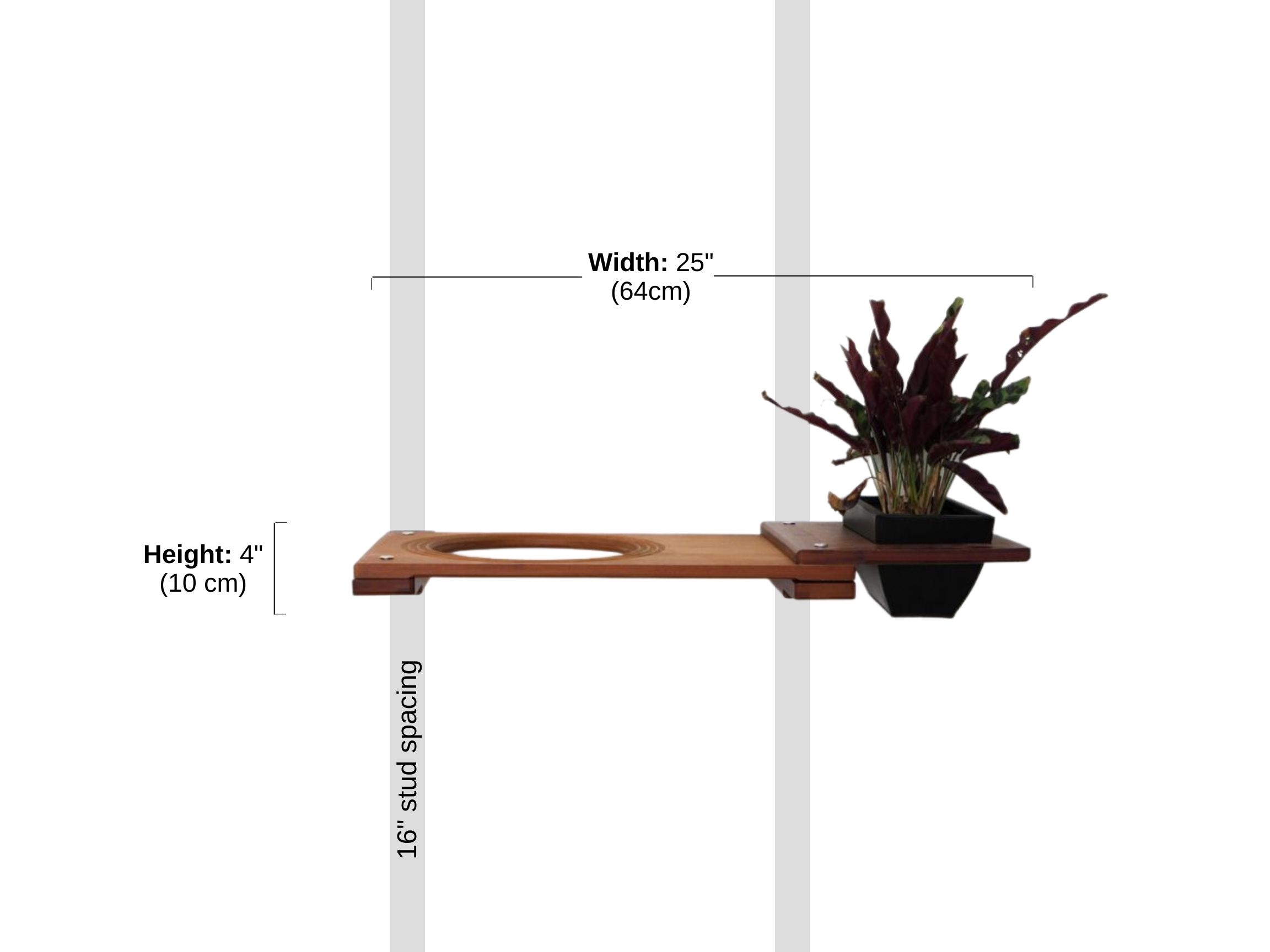 """Stud spacing and Dimensions of 18"""" Escape Hatch with Planter"""