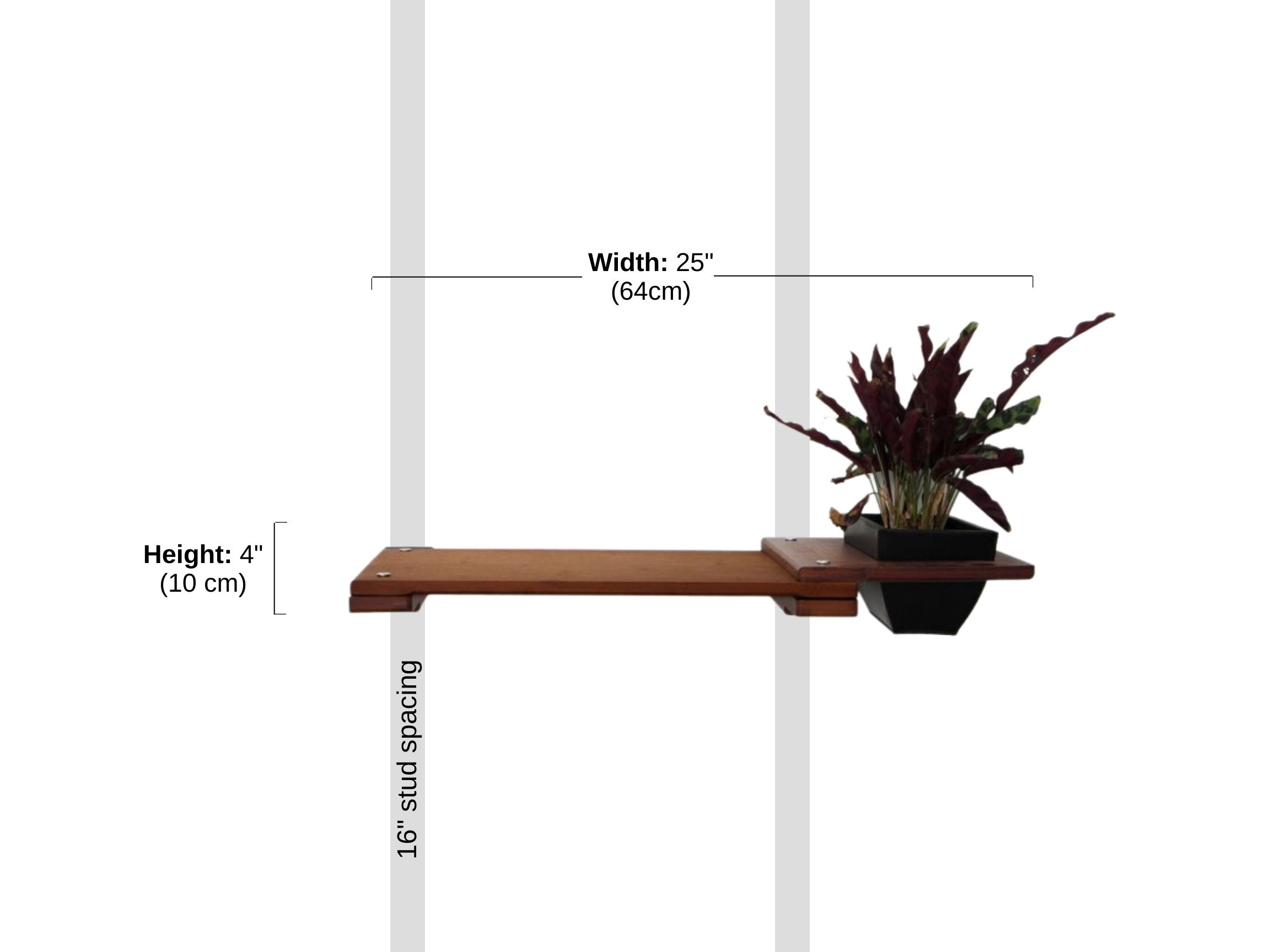 """Stud spacing and Dimensions of 18"""" Shelf with Planter"""