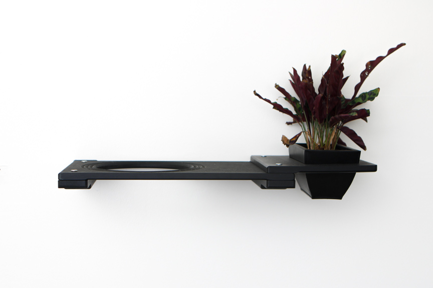 """Onyx bamboo wood 18"""" Escape Hatch with planter attachment with plant"""