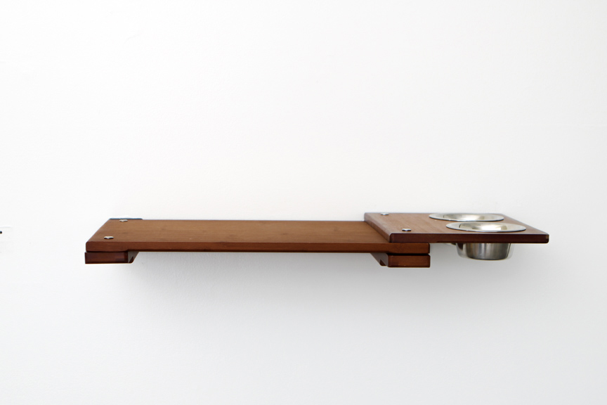 """English Chestnut bamboo wood 18"""" Shelf with Feeder attachment"""