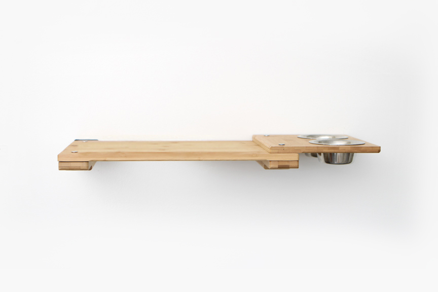 """Natural bamboo wood 18"""" Shelf with Feeder attachment"""