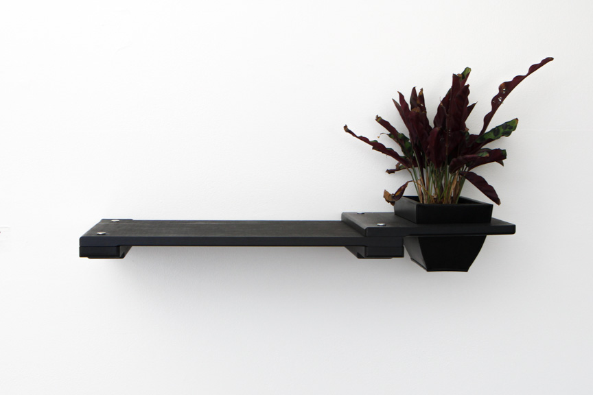 Onyx bamboo wood shelf with planter attachment with plant