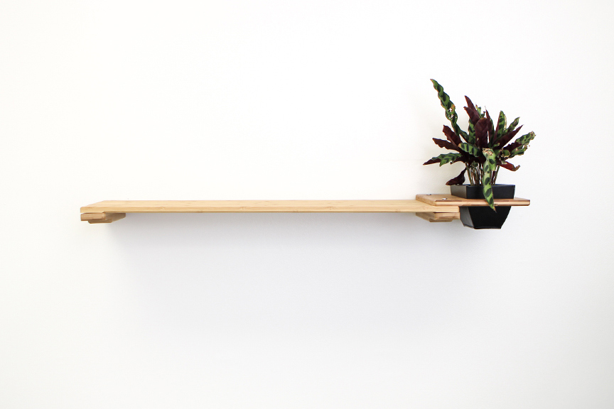 Natural bamboo wood shelf with planter attachment with plant