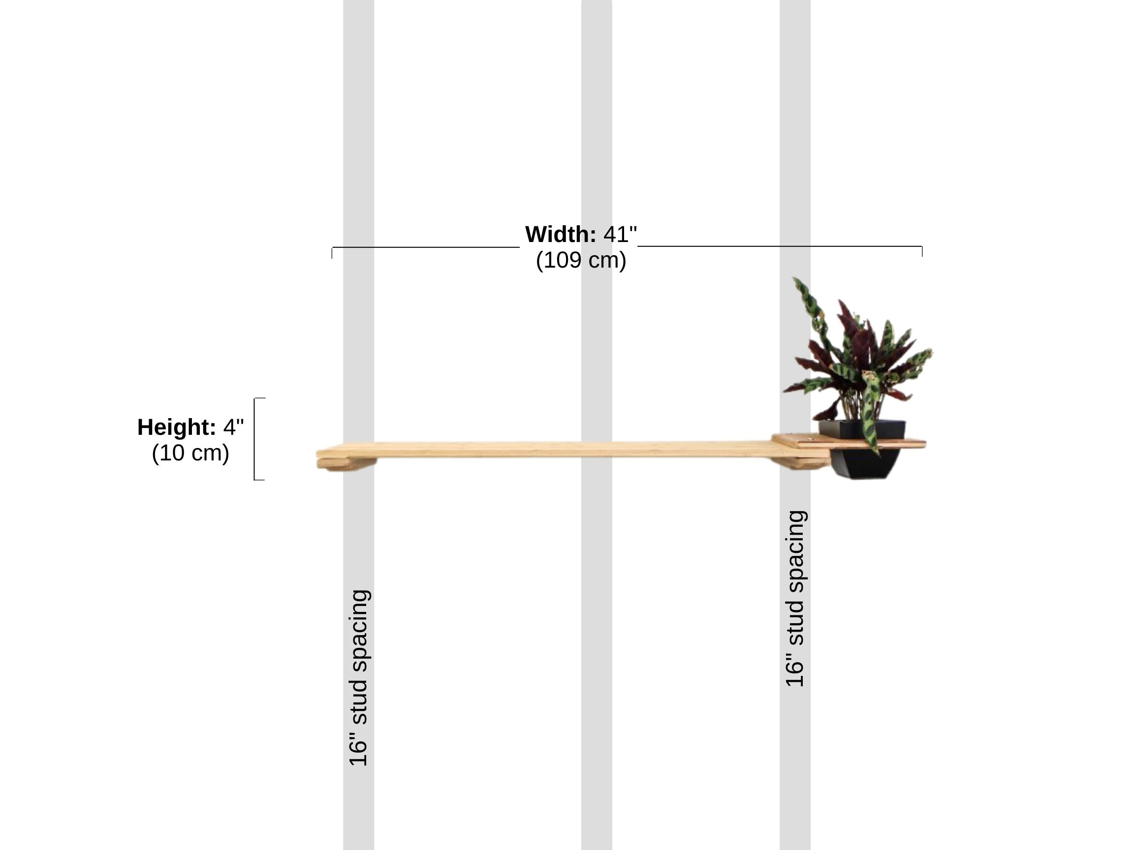 """Stud spacing and Dimensions of 34"""" Shelf with Planter"""